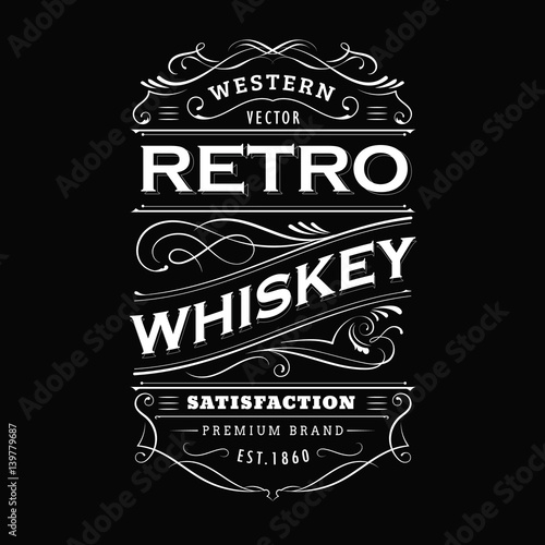 whiskey label vintage hand drawn border typography blackboard vector
