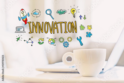 Innovation concept with a cup of coffee