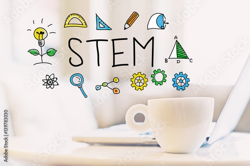 STEM concept with a cup of coffee