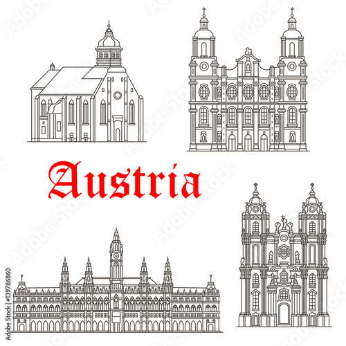 Sticker Austrian architecture buildings vector icons