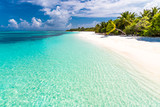 Maldives paradise beach. Perfect tropical island. Beautiful palm trees and tropical beach. Moody blue sky and blue lagoon. Luxury travel summer holiday background concept. - 139814078