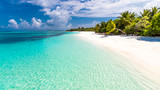 Maldives paradise beach. Perfect tropical island. Beautiful palm trees and tropical beach. Moody blue sky and blue lagoon. Luxury travel summer holiday background concept. - 139814087