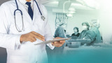 Healthcare and Medicine, Doctor using a digital tablet