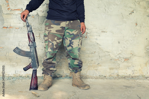 Poster old submachine gun  kalashnikov  AK-47