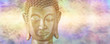 Buddha in Deep Contemplation - Mindfulness Golden Buddha on a beautiful ethereal subtle gaseous background with copy space on both sides