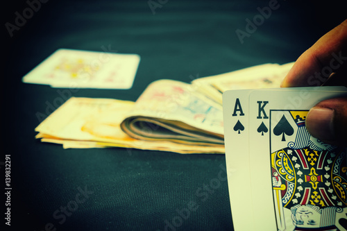 Poster abstract scene of black jack game card vintage filter - can use to display or mo
