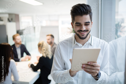 Successful happy worker in information technology industry