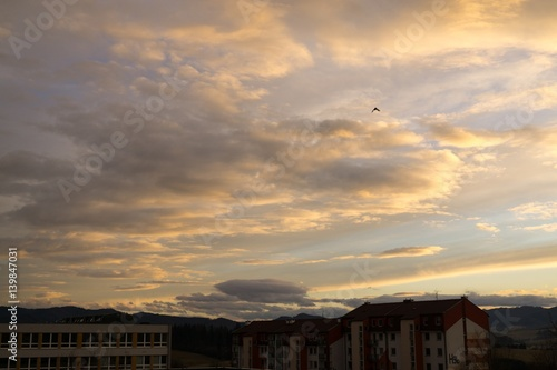 Deurstickers Toscane Sunset and sunrise with dramatic colorful clouds. Slovakia