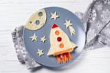 Funny sandwich with rocket and stars made of cheese, carrot and paprika, meal for kids idea - 139861284