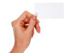 Female hand holds empty white card