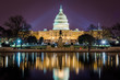 Capitol Building at Night in District of Columbia with Reflection