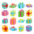 Big presents collection. Vector illustration of cartoon gifts - 139869470