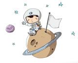 Astronauta, niño en el espacio sentado sobre un planeta