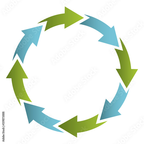 green and blue cycle icon, vector illustraction design image