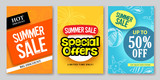 Fototapety Summer sale vector web banner designs and special offers for summer holiday store shopping promotion with colorful backgrounds and elements. Vector illustration.