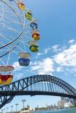 Ferris wheel Luna Park blue sky clouds harbour bridge Sydney Australia. Copyspace.