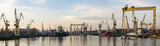 Szczecin ,Poland-January 2017:industrial areas of the former shipyard in Szczecin in Poland, currently being revitalized - 139903652
