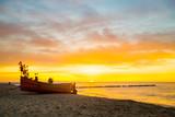 beautiful, colorful sunset over the sea,Baltic sea,Poland