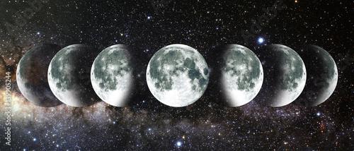 Moon lunar cycle in night sky. NASA.