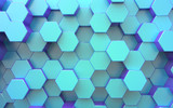 3d surface. Background from hexagons, blue color