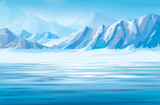 Vector snow mountains background.