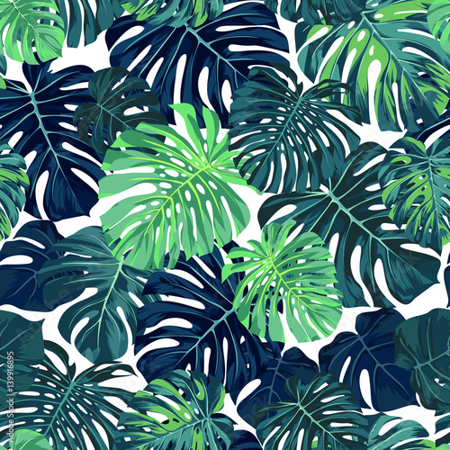 Green vector pattern with monstera palm leaves on dark background. Seamless summer tropical fabric design.