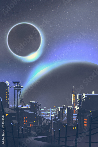 illustration of the futuristic city with planets and solar eclipse on background,digital painting © grandfailure
