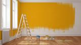 Wand mit gelber Farbe streichen bei Renovierung - 139924497