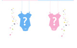 Baby newborn hanging baby boy baby girl body. Baby gender reveal  - 139926028