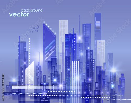 Night city skyline, vector illustration