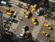 New York City. Yellow cabs go through the intersection. Top view