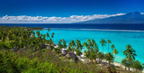 Palm trees on tropical beach of Moorea island with the view of Tahiti - 139933426