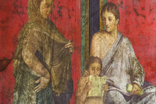 """Постер, картина, фотообои """"Ancient Roman fresco in Pompeii showing a detail of the mystery cult of Dionysus"""""""