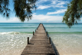 Wooden pier at resort in Phuket, Thailand. Summer, Travel, Vacation and Holiday concept.