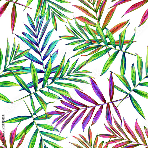 Fototapeta Seamless floral pattern with beautiful watercolor palm leaves. Colorful jungle foliage on white background. Textile design.