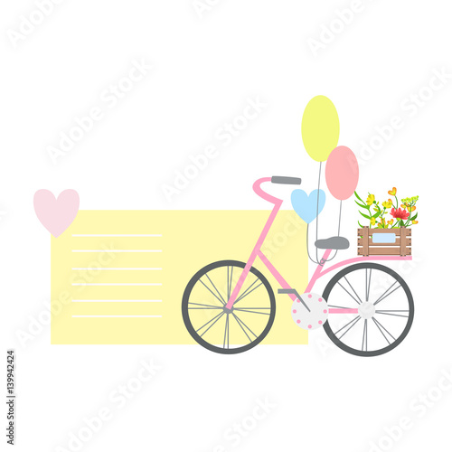 Bicycle With Balloons And Plants On Backseat, Template St. Valentines Day Message Element Missing Text