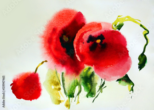 Original watercolor illustration of Poppies © denys_kuvaiev