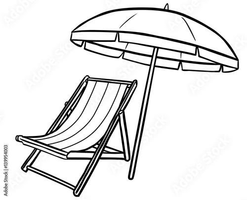 Sonnenschirm strand comic  GamesAgeddon - Schwarz-weiß Zeichnung Liegstuhl und Sonnenschirm ...