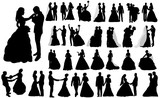 Fototapety vector, isolated large set of silhouettes of wedding, the bride and groom