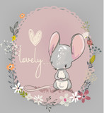 Fototapety cute little mouse with flowers