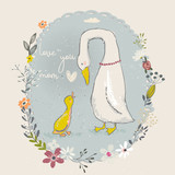 Fototapety cartoon goose and gosling