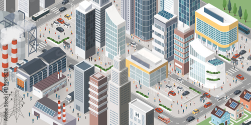 Poster Contemporary isometric city