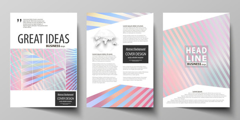 Business templates for brochure, magazine, flyer, booklet or report. Cover template, abstract vector layout in A4 size. Sweet pink and blue decoration, pretty romantic design, cute candy background.