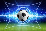 Soccer ball, bright blue lightning, green football field with layout - 139975201