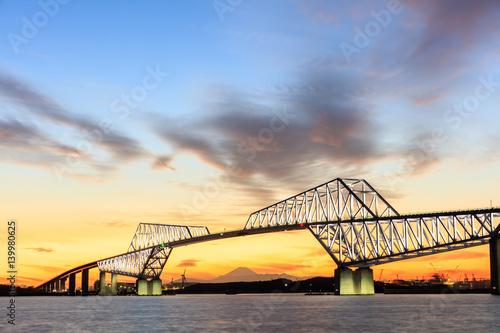 Poster Tokyo Gate Bridge at sunset