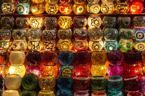 Poster Egypte Turkish Mosaic and Ottoman Lamps, Grand Bazaar Shopping