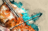 Detail of a woman playing cello art painting artprint - 140005074