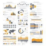 Big set of infographics elements. Vector Illustration for business presentation, booklet, website etc. - 140009021
