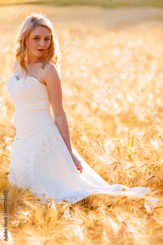 Portrait of pretty girl in white dress
