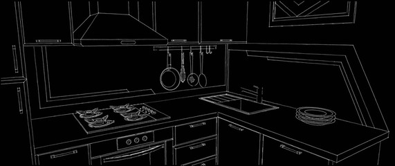 Sketch of kitchen corner with sink, wall pot rack, fume hood, cooktop and geometry painting on the wall. Outline black and white illustration. © scale_08